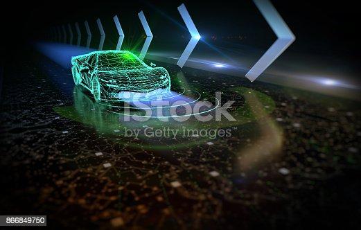 istock Driverless autopilot, autonomous vehicle 866849750