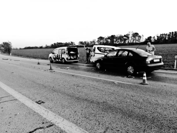 Drivers in discussion after cars are involved in a road accident on a motorway near Bratislava, Slovakia stock photo