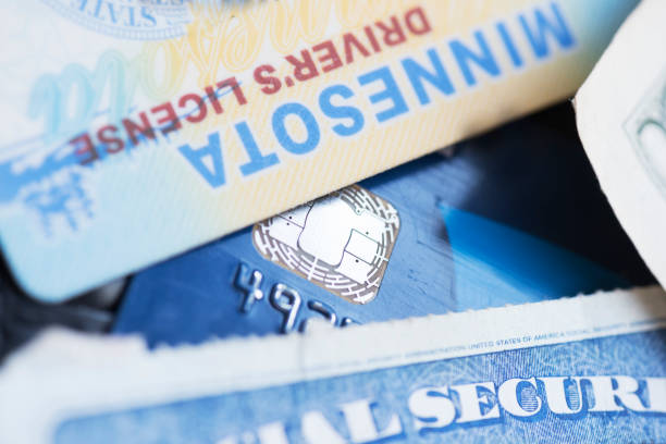 Drivers license and social security card stock photo