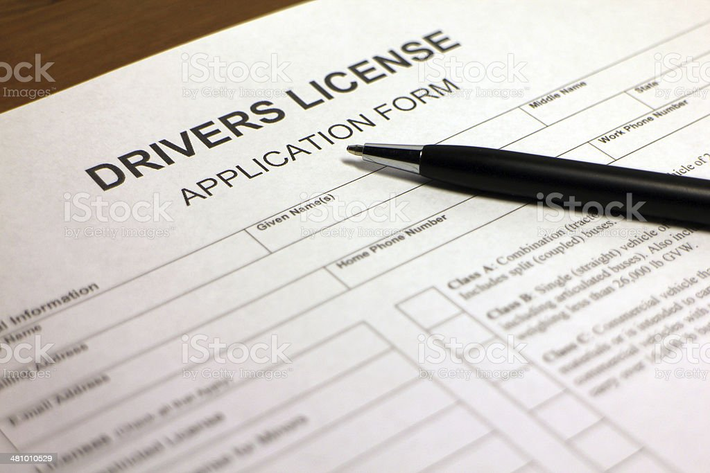 Drivers License ApplicationForm stock photo