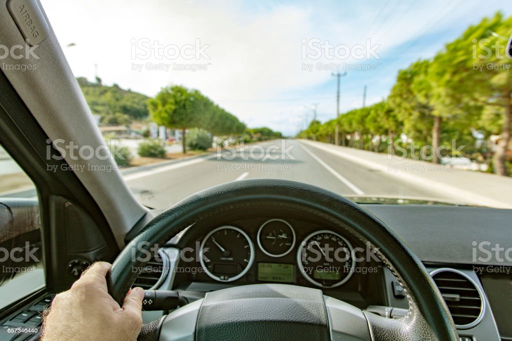 driver's view in a car stock photo