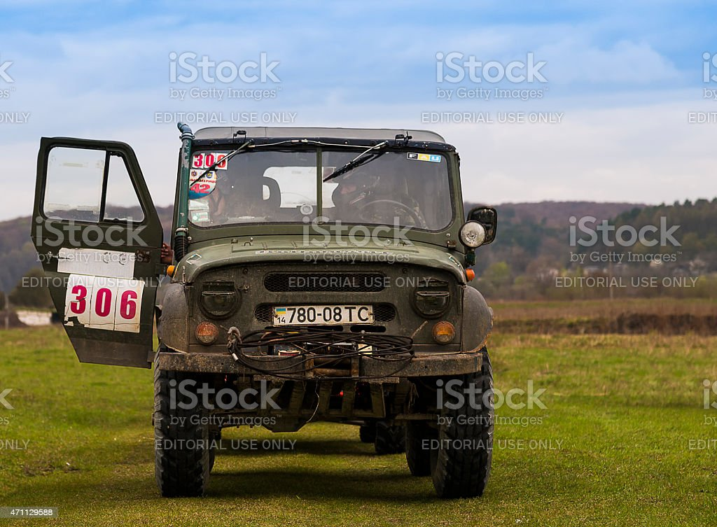 Drives UAZ during a motoring event Lvov Off-Road stock photo