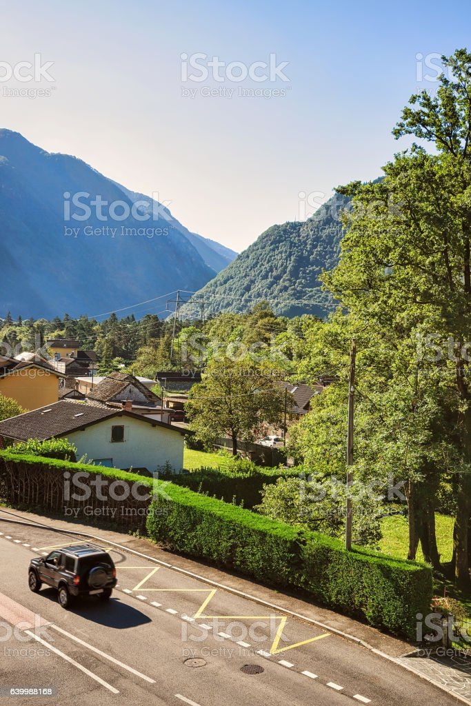 Driveway in Aurigeno in Ticino Switzerland stock photo