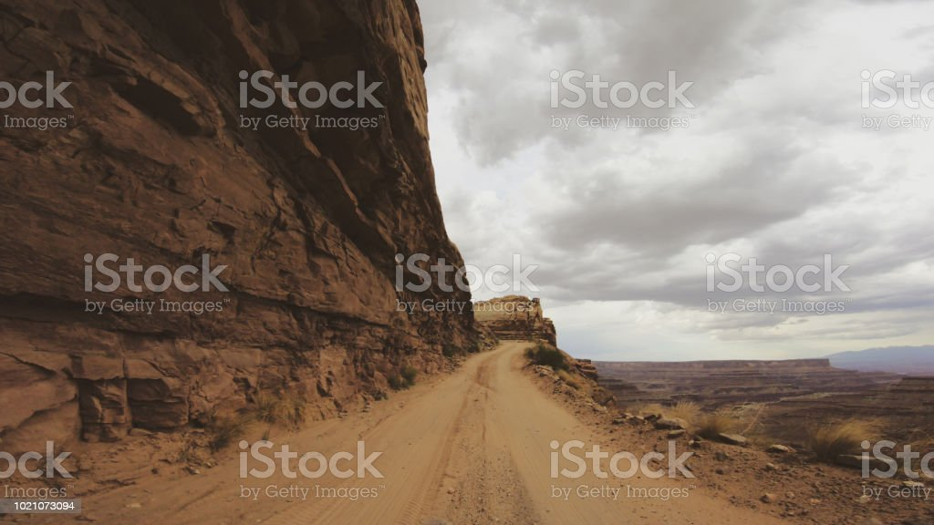 POV Driving a 4WD car offroad: Shafer trail stock photo