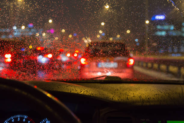 Driving a car in a bad weather, in traffic jam – zdjęcie