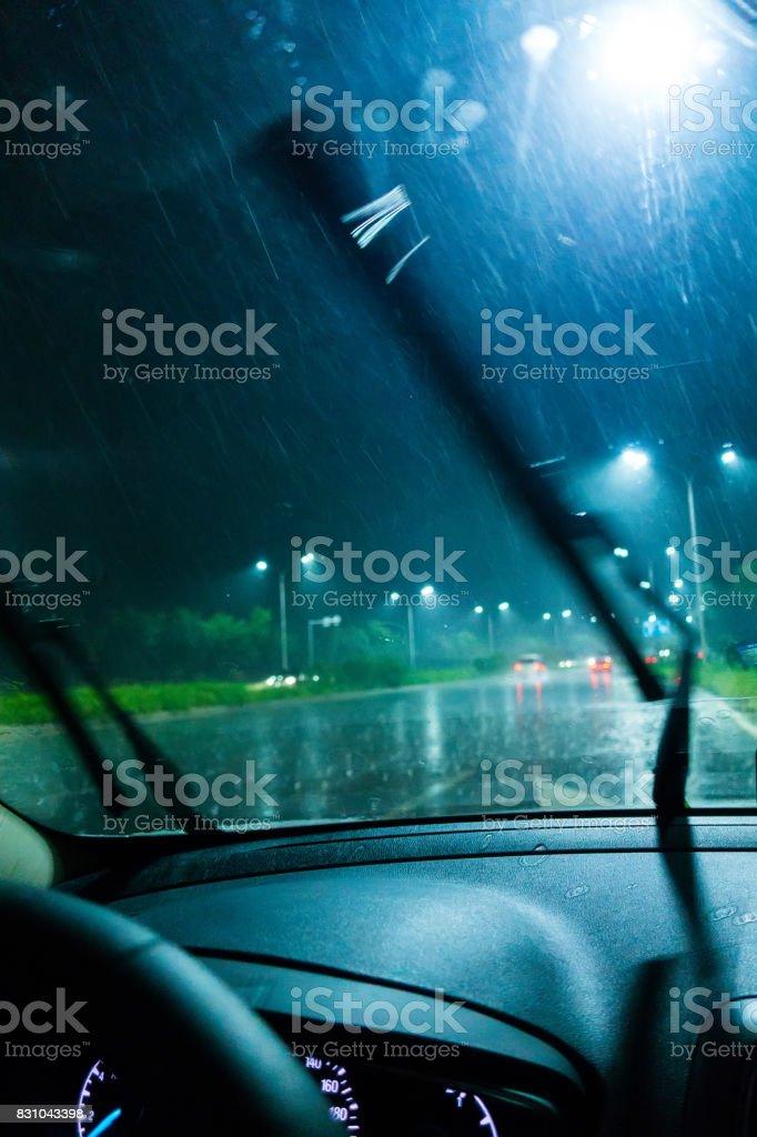 Driving a car in rain night