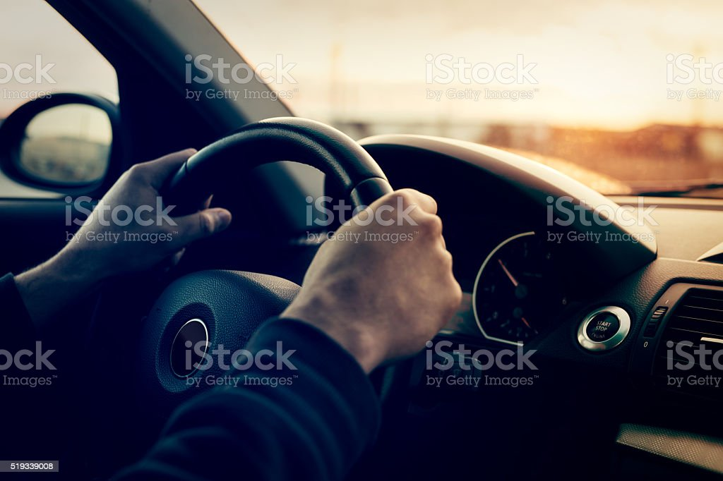 Driving a car stock photo
