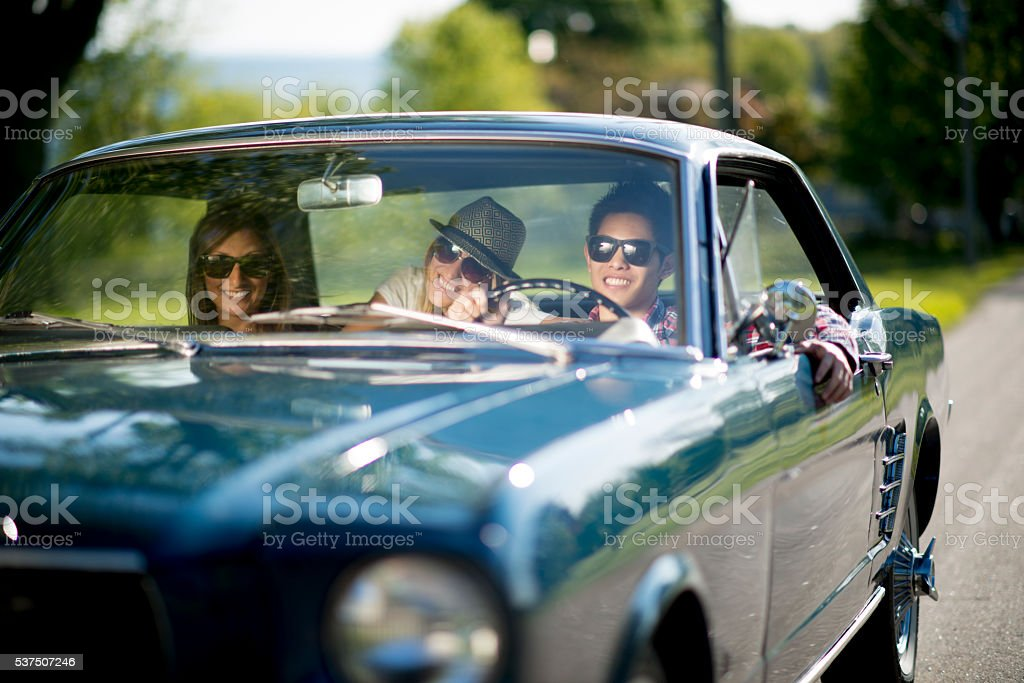 Driving a Classic Car stock photo