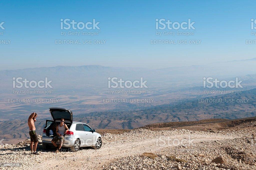 Driving above Lebanon's Bekaa Valley royalty-free stock photo