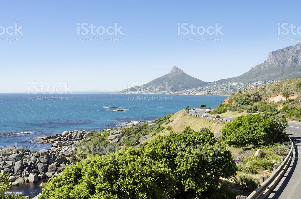 Driving along Cape Town's coastline stock photo