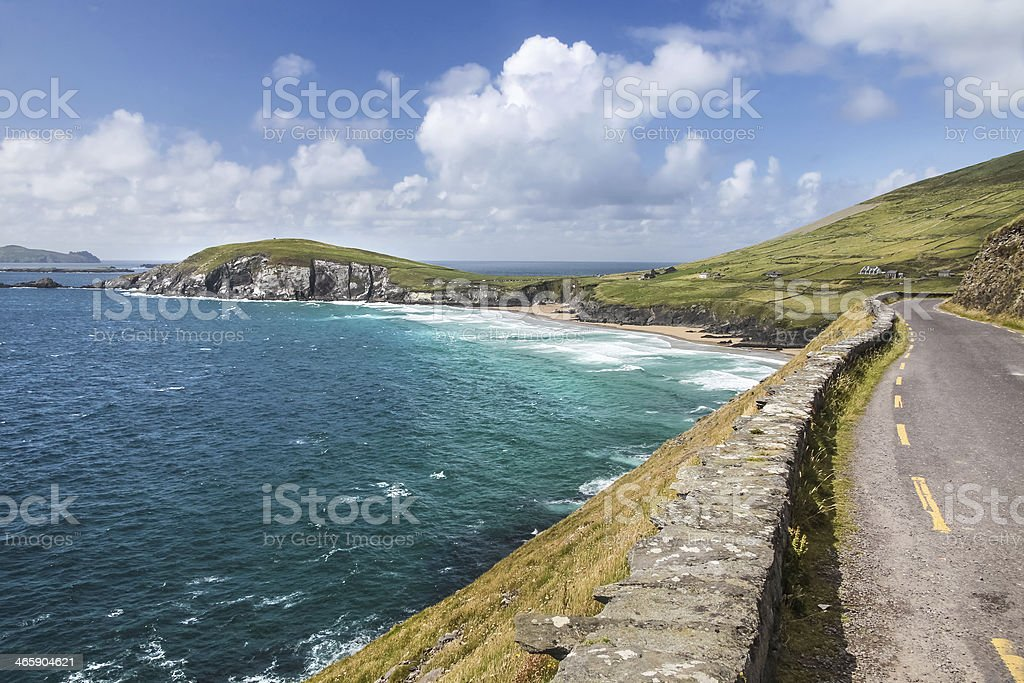 Driving along the coastal road at Slea Head Drive  stock photo