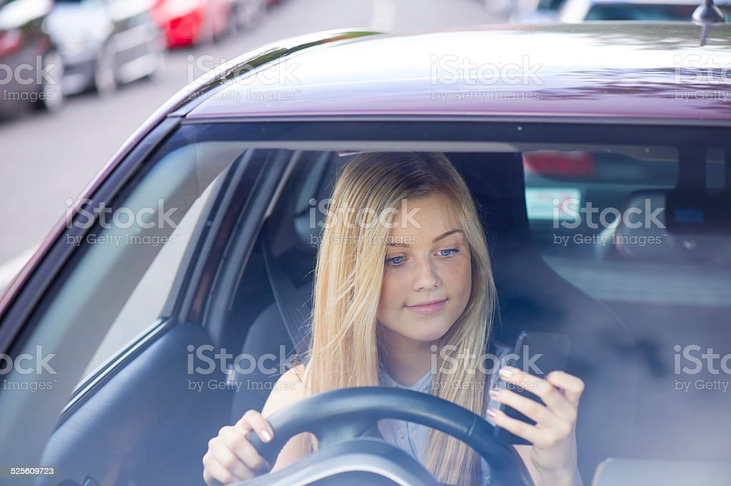 driving and phoning stock photo