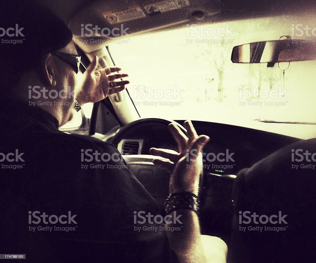 Driving and Talking royalty-free stock photo