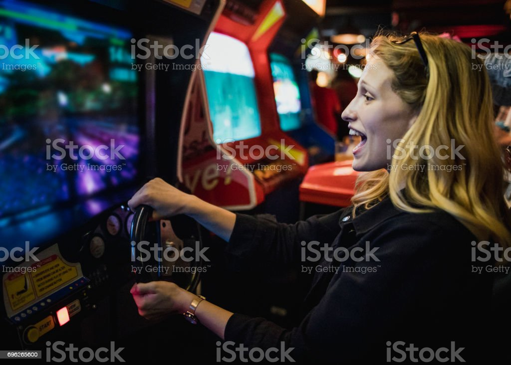 Driving Arcade stock photo