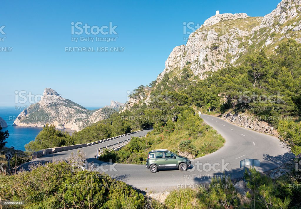 Driving around a hairpin bend on the Formentor Peninsula, Mallor stock photo