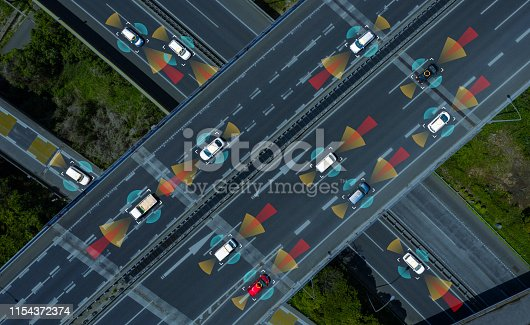 istock Driving assistant systems concept. Automotive technology. 1154372374