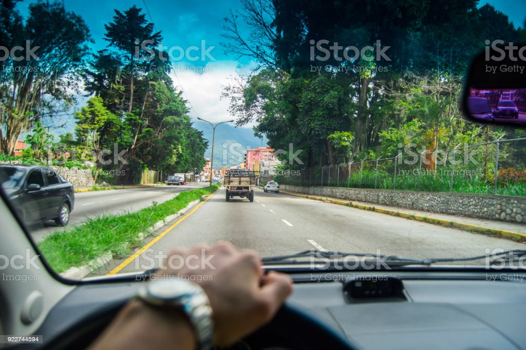 Driving at day, to the city stock photo