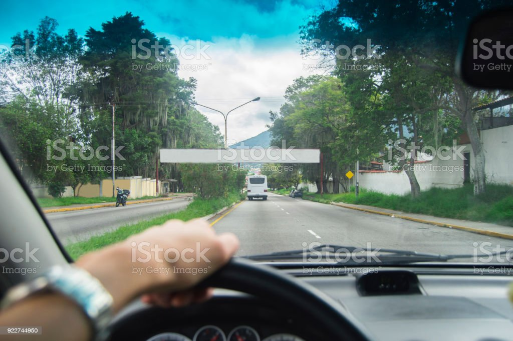 Driving at day, welcome to ! stock photo