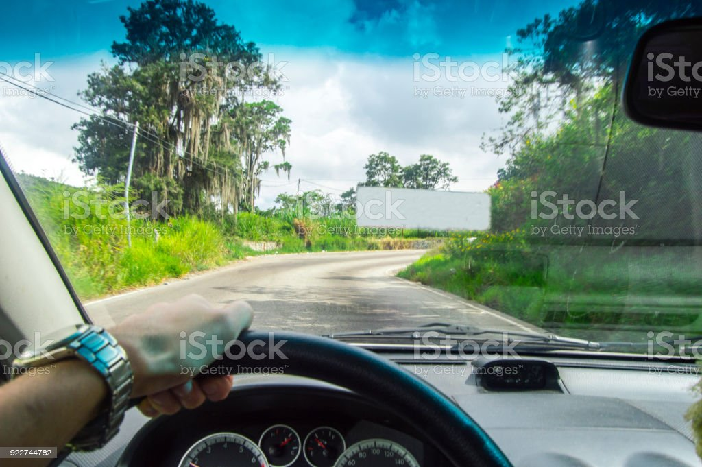 Driving at day, you are close to the city welcome ! stock photo