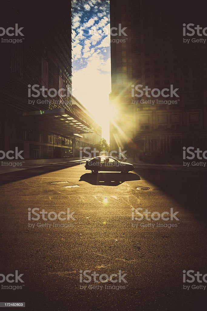 Driving at Sunrise in the City royalty-free stock photo