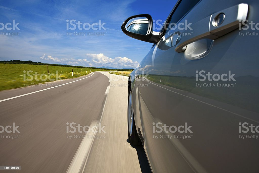 Driving at the country road royalty-free stock photo