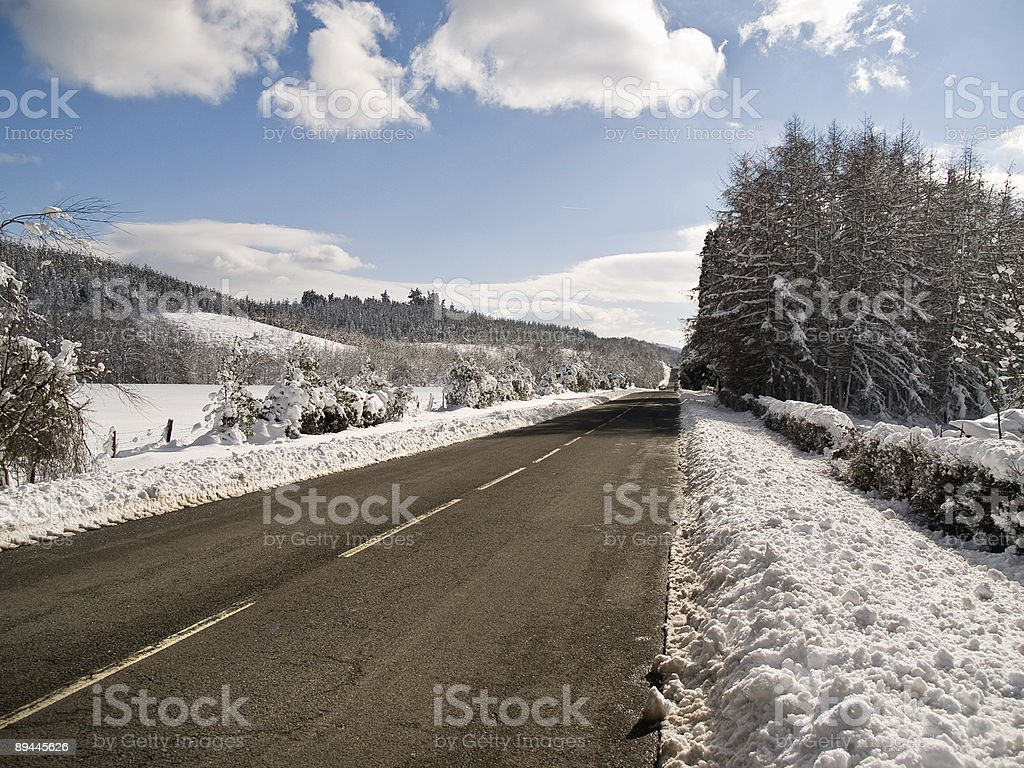 Driving at winter, clean road royalty-free stock photo