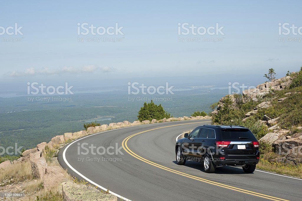 Driving Cadillac Mountain stock photo