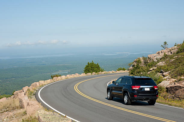 driving cadillac mountain - skyline mountains usa stock photos and pictures