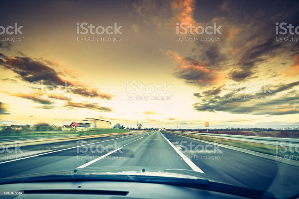 driving car on highway road stock photo