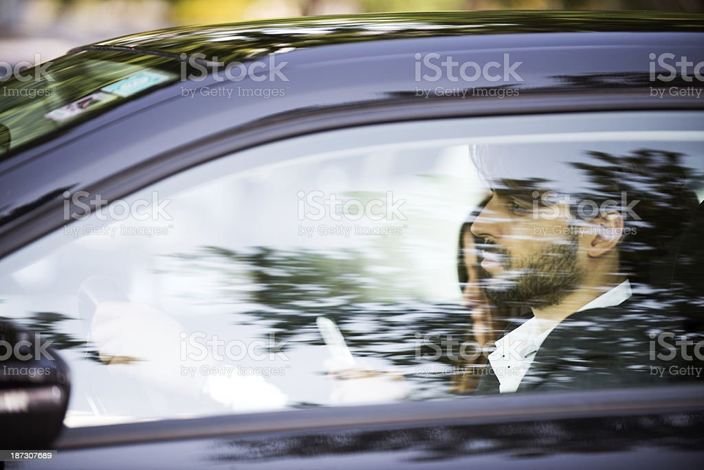 Driving couple stock photo