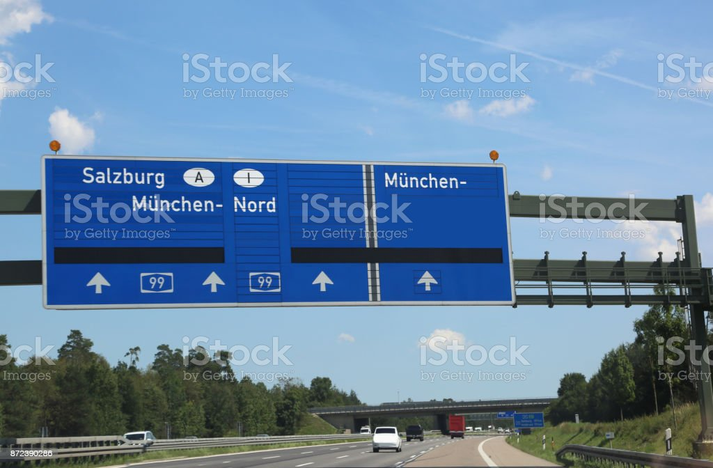 Driving directions on the highway to go to  Innsbruck in Austria stock photo