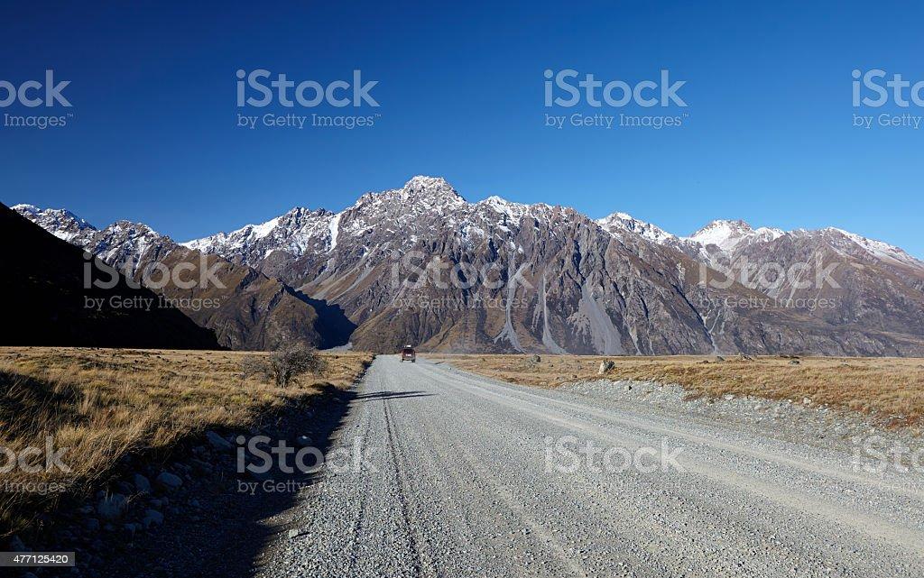 Driving Down The Tasman Valley Road stock photo