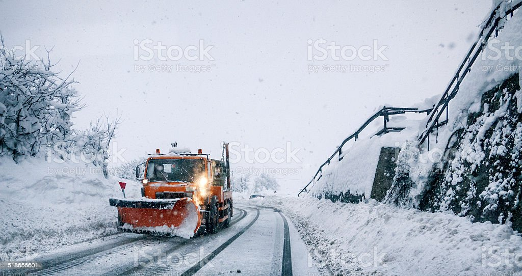 Driving during a blizzard stock photo