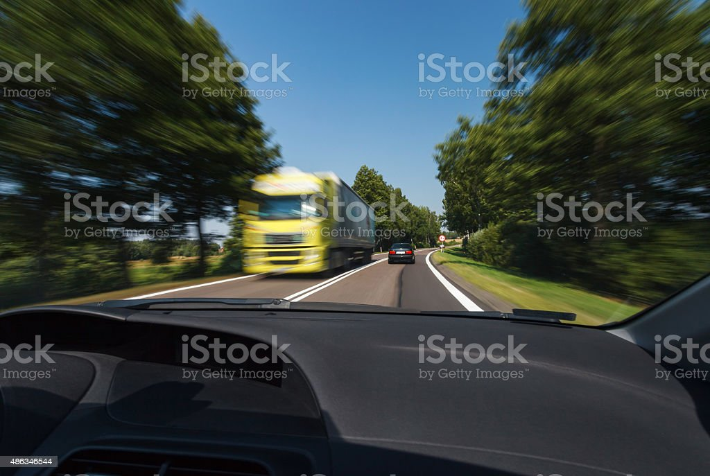 Driving during good weather conditions stock photo