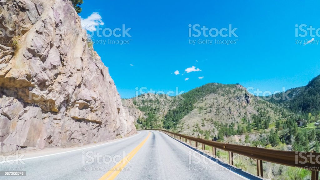 Driving East to Boulder on highway 36 stock photo