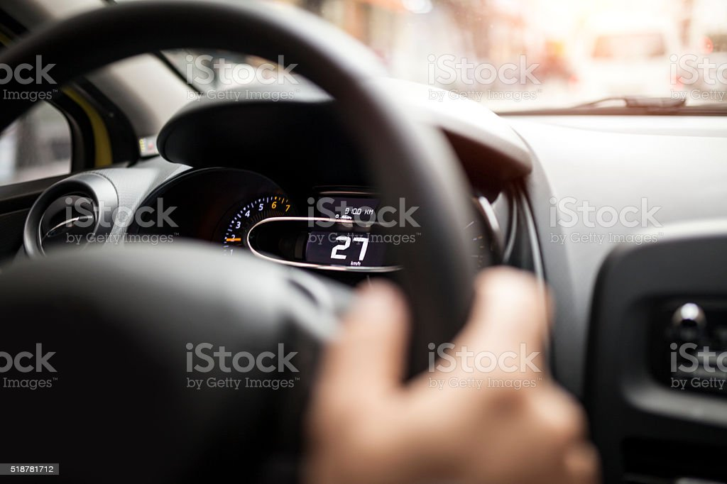 Driving Electric Car stock photo
