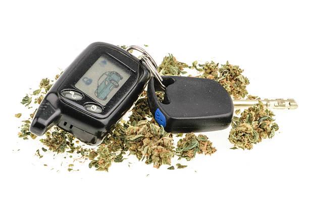 driving high, marijuana and car key isolated on white - dirty money bildbanksfoton och bilder