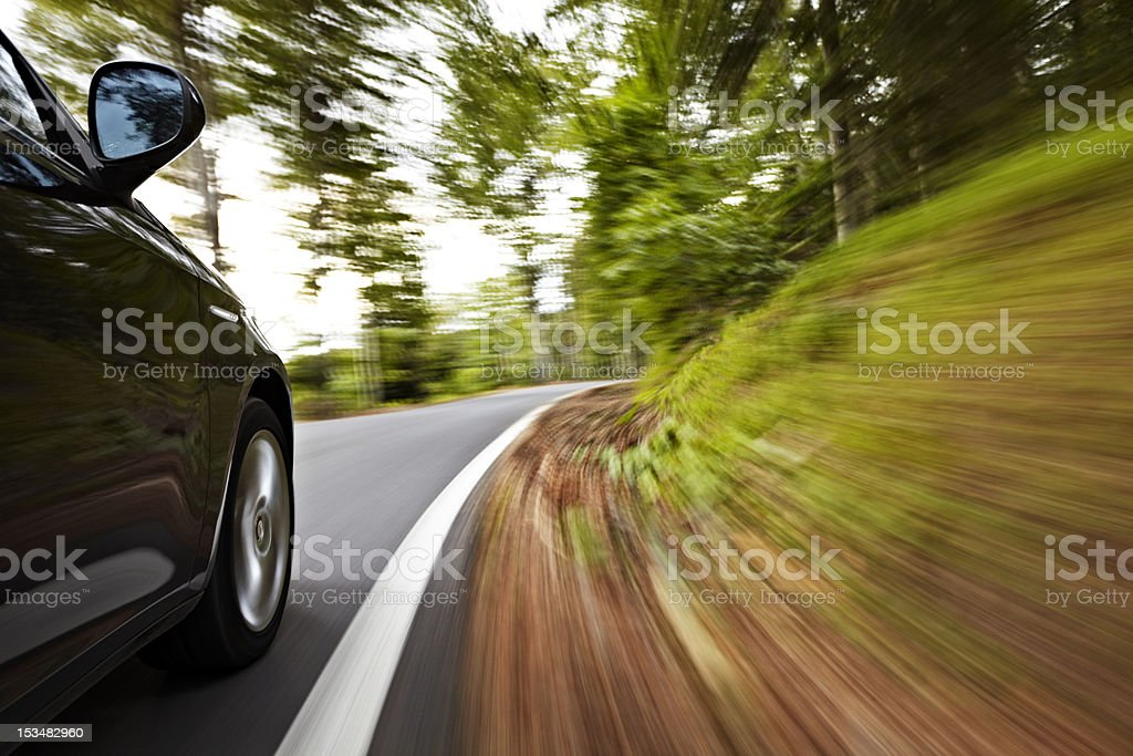 Driving in a curve stock photo