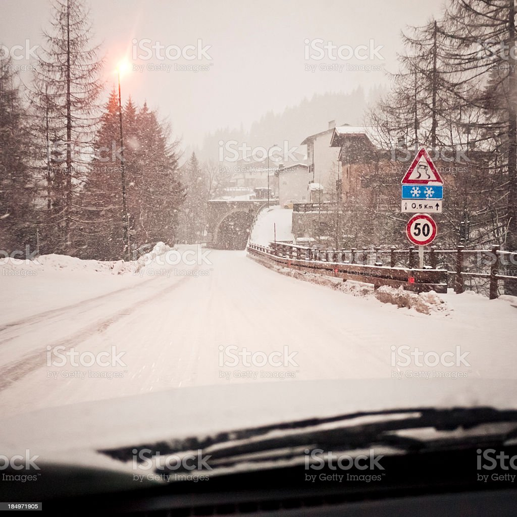 Driving In A Snow Storm royalty-free stock photo