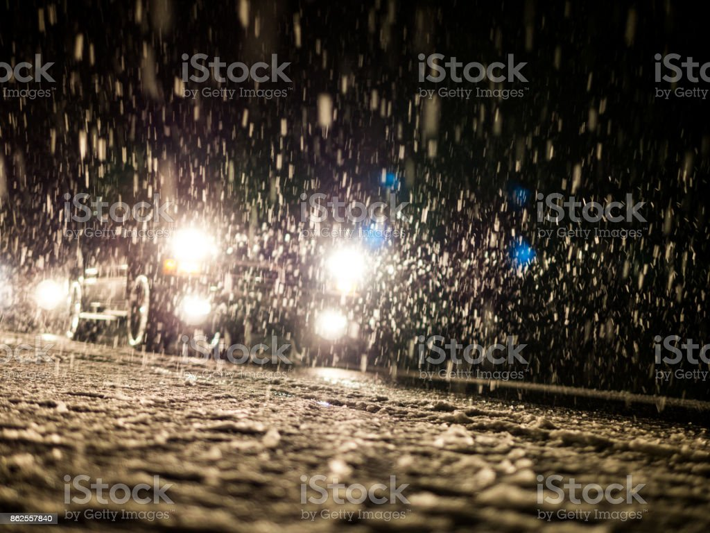 Driving in bad conditions - snow stock photo