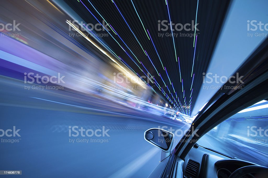 Driving in city at night royalty-free stock photo