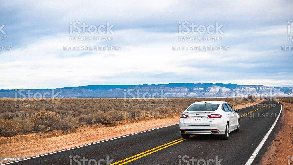Driving in desert. stock photo