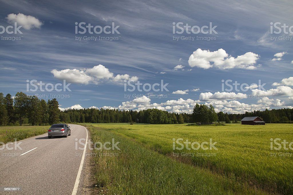 Driving in Finland's countryside stock photo