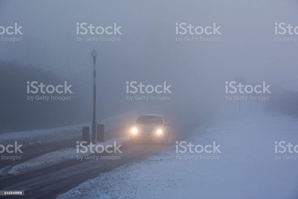Driving in Freezing Fog - United Kingdom stock photo