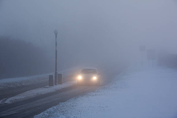 Driving in Freezing Fog - United Kingdom stock photo
