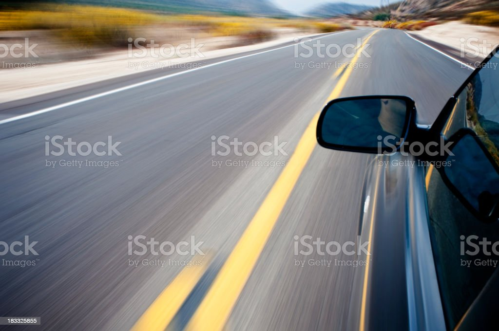 Driving in high speed stock photo