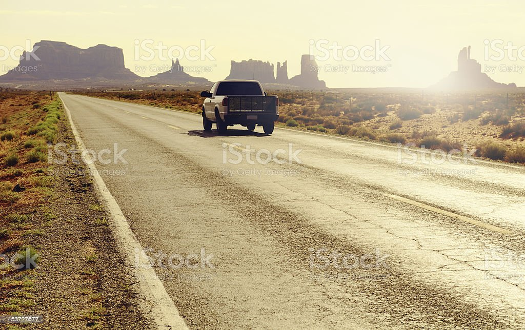 Driving in Monument Valley, Arizona stock photo
