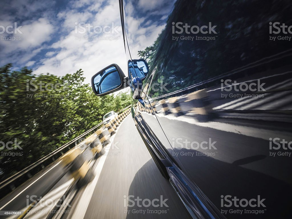 Driving in nature royalty-free stock photo