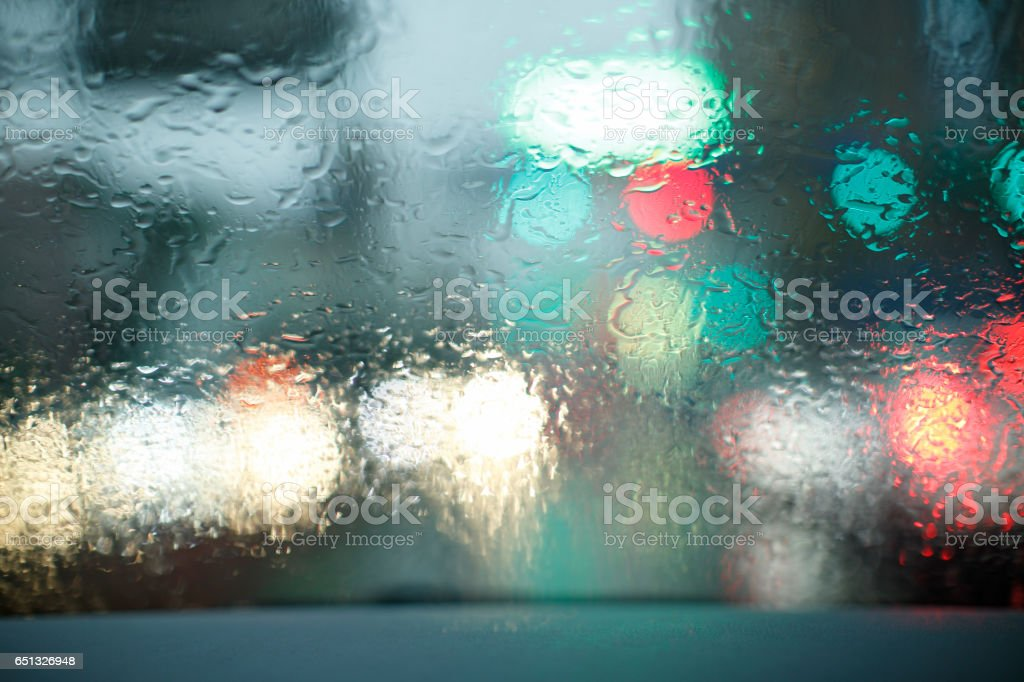 Driving in rain stock photo