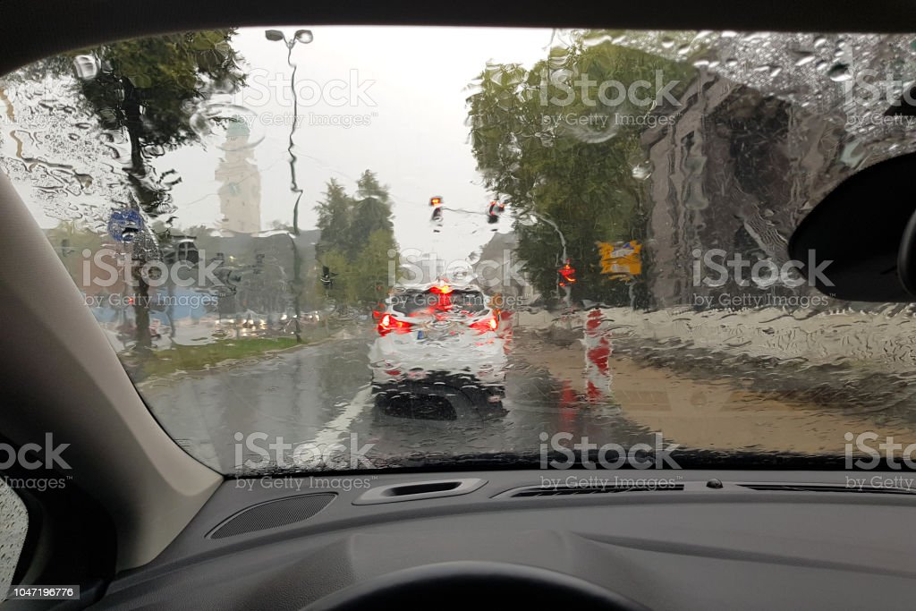 Driving in rainy weather stock photo